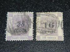 Hong Kong 1876 Sc#29-30 QV Surch Used Set VF,SCV$222.50