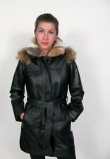 DANIER LEATHER LADIES BLACK RACCOON HOODED INNER FUR LINED PARKA JACKET COAT~4/6