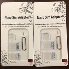 2 nano to micro sim adapter for any carrier/all mobile 4in1/ USA seller