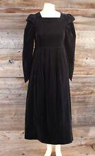 Vintage Laura Ashley Black Velvet Victorian Style Dress Size 8