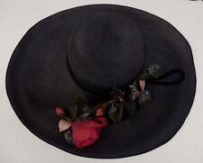 Vtg 1950s Wide Brim Black Straw Derby Day Hat w/Rose