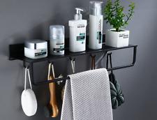 Shower Caddy With HooksTowel Bar Storage Shelf Space Aluminum Black Wall Mount