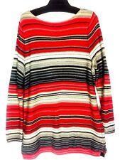 Ralph Lauren Women's Knit Sweater Plus Size 2x  Red Black Gray and White Stripe