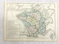 1877 Antique Map of France French River Routes Plan Hand Coloured 19th Century