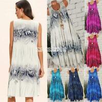 S-5XL Women Sleeveless Floral Dress Plus Size Round Neck Summer Beach Mini Dress
