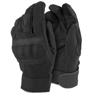 BTG Rhyno Military Police Tactical Touchscreen Knuckle Gloves with Kevlar Black