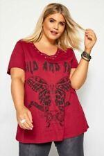 Yours Clothing Damen Übergröße Rot Daisy Aufdruck Asymmetrischer Saum T-Shirt