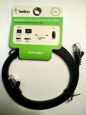NEW! BELKIN PREMIUM FLAT 6FT BLACK CAT5E NETWORKING CABLE