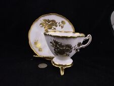 WHITE HAMMERSLEY CABINET TEA CUP AND SAUCER WITH FLORAL FOIL GOLD OVERLAYS