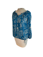 Lucky Brand Boho Floral Paisley Top Shirt Blouse Blue Cream S Small