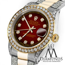 Women's 31mm Rolex Datejust Red Color Diamond Accent Dial with Oyster Bracelet