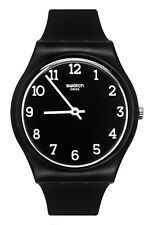 Swatch GB301 Blackway Black White Analog Dial Silicone Band Unisex Watch New