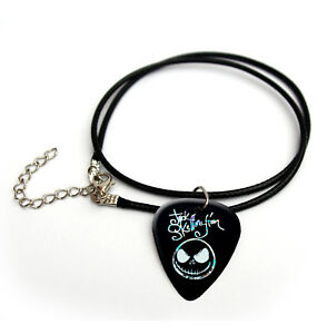 Jack Skellington silver print Guitar Pick Plectrum necklace bracelet keyring