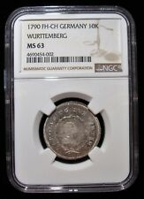 German States: Wurttemberg 1790 FH-CH 10 Kreuzer. MS63 NGC.