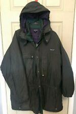 Retro Patagonia Parka Coat Jacket Mens Sz XL Green Hooded Full Zip Button