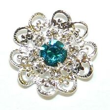 SCSC1929 Crystal & Blue Zircon w Silver 17mm Filigree Flower Swarovski Pendant