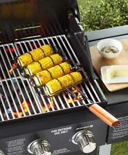 Steel And Wood Corn Grilling Basket Outdoor Bbq Grill Accessory