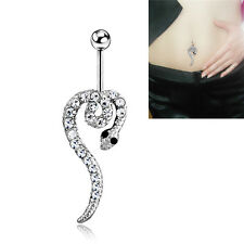 Fashion Women's Belly Button Navel Ring Silver Snake Body Piercing Jewelry、fad