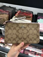 NWT! COACH WALLET Leather & PVC Double Zip Wallet Phone Case LARGE F16109 $175