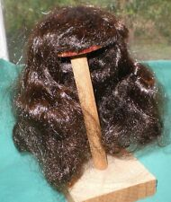 "doll wig dark brown 8.5"" to 9"" long hair, fringe and curls at the back"