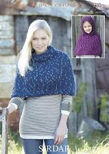Sirdar 7325 Knitting Pattern Stand up Neck & Hooded Poncho Husky Super Chunky