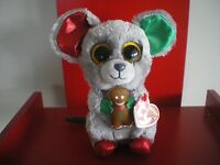 Ty Beanie Boos MAC the mouse 6 inch NWMT.  NEW CHRISTMAS BOOS - IN HAND NOW.