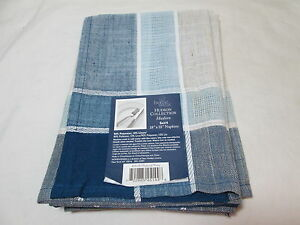 "New Home Wear HUDSON COLLECTION Set of 4 Napkins 18""x18 Natural/Navy Blue Plaid"