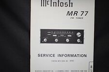 McIntosh MR 77 FM Tuner  Service Manual Factory Original