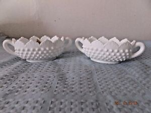Fenton Milk Glass Pair Hobnail Handled Baskets/Bowls One w/Sticker