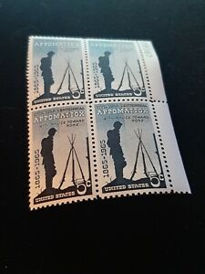 Surrender at Appomattox Civil War Centennial Set of 4 Stamps 56 Years Old!