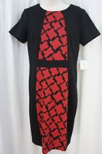 Anne Klein Dress Sz 6 Black Red Multi Short Sleeve Business Dinner Work Dress