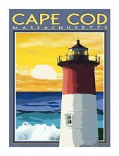 Cape Cod, MA Lighthouse-Vintage Art Deco Style Travel Poster-by Aurelio Grisanty