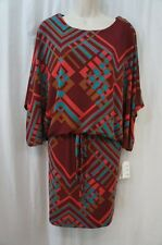 Jessica Simpson Dress Sz S Cat Cabernet Red Tab Sleeve Argyle Cocktail Jersey