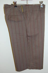 NEW BROWN PINSTRIPE CARTEL MENS WALK SHORTS SIZE M