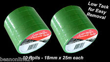 10 Pack Low Tack Masking Tape Coloured 18mm x 25 metres Green