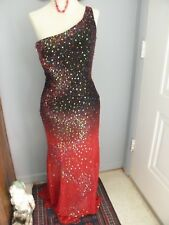 Riva Designs Black to Red Sequin Ombre One Shoulder Prom, Party, Holiday, SZ 12