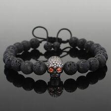 Fashion Mans Lava Stone Rhodium Plated Skull Beaded Shamballa Macrame Bracelet