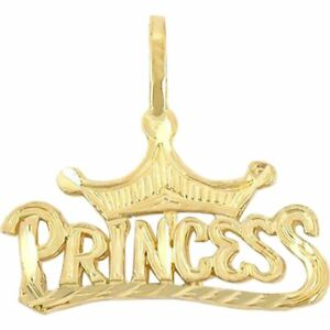 14K Gold Charm Princess Cinderella Pendant Jewelry Part 15mm
