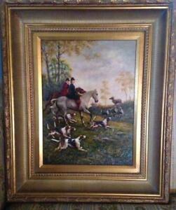 Vintage Oil Painting Old English Fox Hunt Scene, Beautiful NEW PRICE