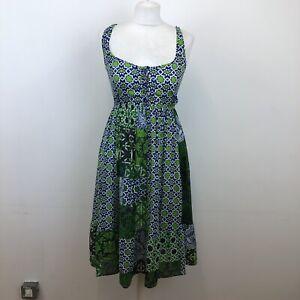 Joe Browns Patchwork Style Sun Summer Dress Green Blue Batik Sz 8