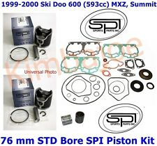 1999-2000 Ski Doo 600 (593 cc) MXZ Summit 76 mm STD Bore SPI Pistons Gaskets