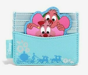 Loungefly Disney Cinderella Jaq & Gus Cardholder BlueNEW