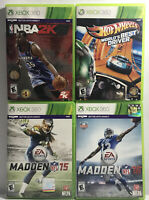 XBOX 360 Lot of 4 Games Sports + Racing: Madden NFL 15 &16, NBA 2K15, Hot Wheels