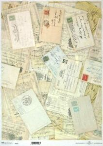 A/4 Rice Paper for Decoupage, Scrapbooking Sheetr -  Vintage Postcards