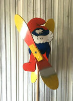 Wooden Windmill Papa Smurf Wind Spinner Whirligig Folk Art Hand Painted 25cm