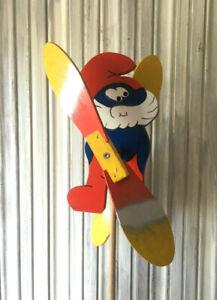 Wooden Windmill Papa Smurf Wind Spinner Whirligig Folk Art Hand Painted 25cm