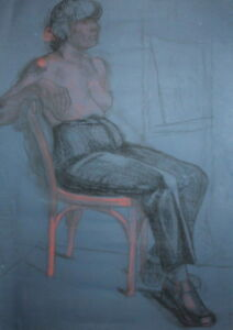 OLD NUDE SEATED WOMAN LARGE  PASTEL PAINTING