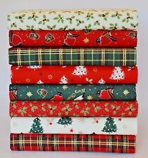 CHRISTMAS FABRIC BUNDLE HOLLY ROBIN TARTAN QUILTING SCRAPS SQUARES 100% COTTON