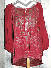 Women's Size XL Lace Peasant Blouse Top Shirt Long Sleeve New