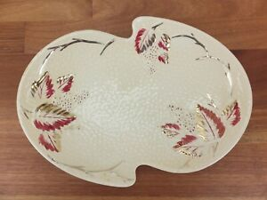 Vintage 1950s WADE Bramble Oval Platter Gold Blush and Red